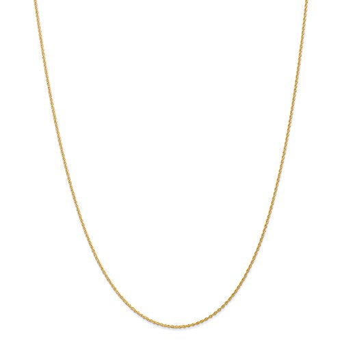 14k Yellow Gold 1.1mm Baby Link Rope Chain Necklace 18 Inch Pendant Charm Fine Jewelry Gifts For Women For Her