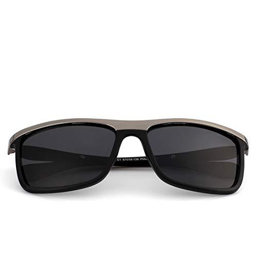 Marco Tea Matte Frame Gray Metal Hombres Frame De de Moda Lens Gafas Sol Costura De Lens Color De Sol Tea Retro De TLMY Sol Gafas Gafas Los Black 1qg8x