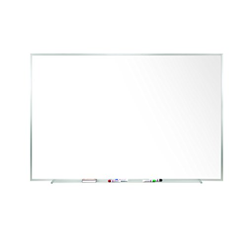 (Ghent 4 x 12 Porcelain Magnetic Whiteboard, Aluminum Frame, 1 Marker, 1 Eraser, Made in the USA (M1-412-4))