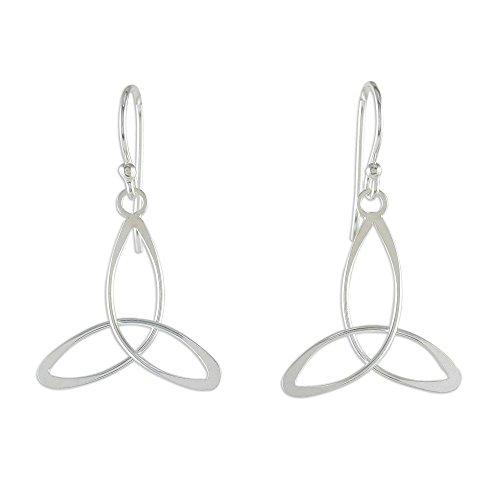 NOVICA .925 Sterling Silver Dangle Earrings 'Triangle Twist'