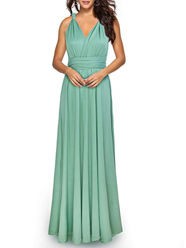 (PERSUN Women's Elegant Long Multi Way Strap Wrap Convertible Formal Nursing Maternity Dress,Green,S)