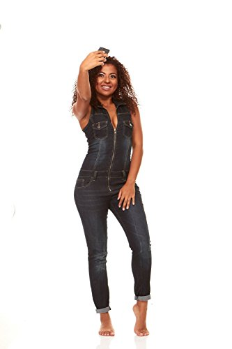 V.I.P. JEANS Skinny Sleeveless Slim Fit Stretch Jumpsuit Black Blue Denim (Suit Denim Womens)