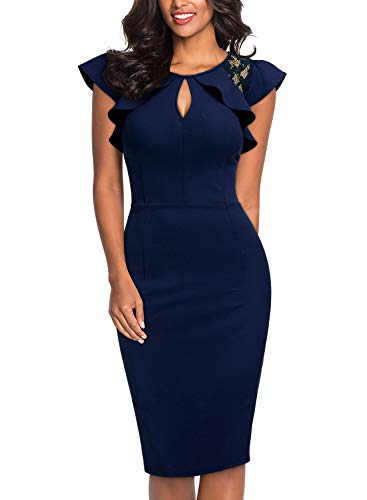 Knitee Women's Ruffle Trimmed Lace Floral Sleeveless Cut Out Bodycon Cocktail Sheath Dress,Large,Navy Blue