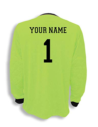 Soccer Goalkeeper Jersey personalized with your name and number - size Youth L - color Lime