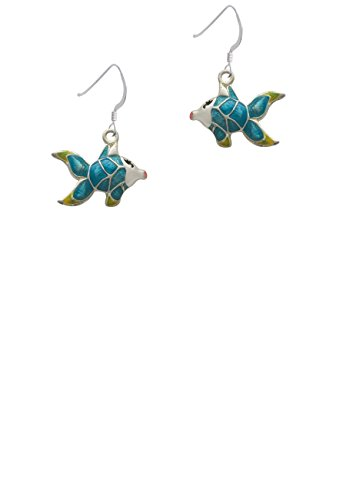 Blue Tropical Fish with Yellow Fins - French Earrings