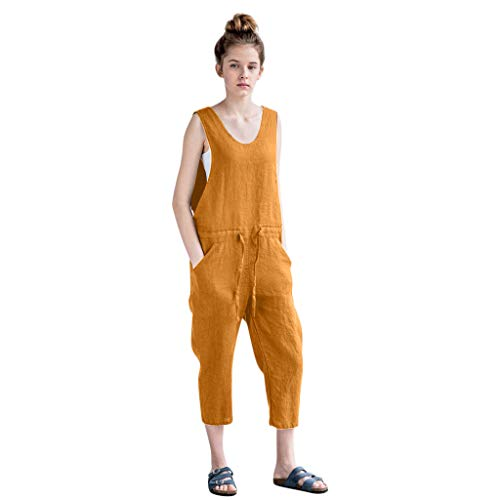 - TIFENNY Cotton Linen Siamese Pants for Women Summer Loose Jumpsuit V-Neck Sleeveless Garden Romper Loose Trousers Yellow