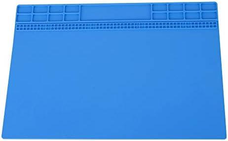 Tangxi Wärmeisolierungs-Auflage, 350MM * 250MM magnetische hitzebeständige Telefon-Computer-Silikon-Lötmatten-Reparatur-Matte, hitzebeständige Silikon-Arbeitsmatte 500 ℃(Navy blau)