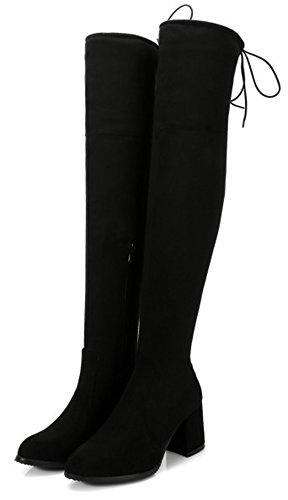 Aisun Womens Lace Simple À Lintérieur Zip Up Slim Bout Rond Extensible Milieu Bloc Talons Au-dessus Du Genou Hautes Bottes Avec Fermeture À Glissière Noir