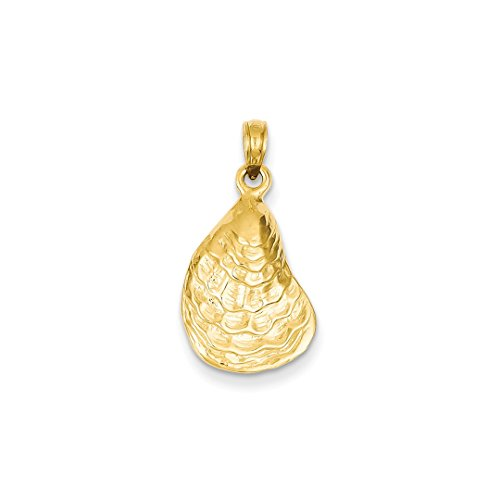 ICE CARATS 14k Yellow Gold Oyster Sea Shell Mermaid Nautical Jewelry Pendant Charm Necklace Shore Fine Jewelry Ideal Mothers Day Gifts For Mom Women Gift Set From Heart (Gold 14k Oyster Yellow)