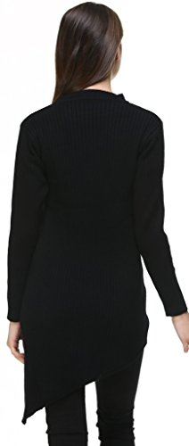 Fashion Jumper Top Robe Chandail Pullover Tunic Knit vogueearth Ladies Tricots Noir Sweater Round Femme's Neck fdnwB4q