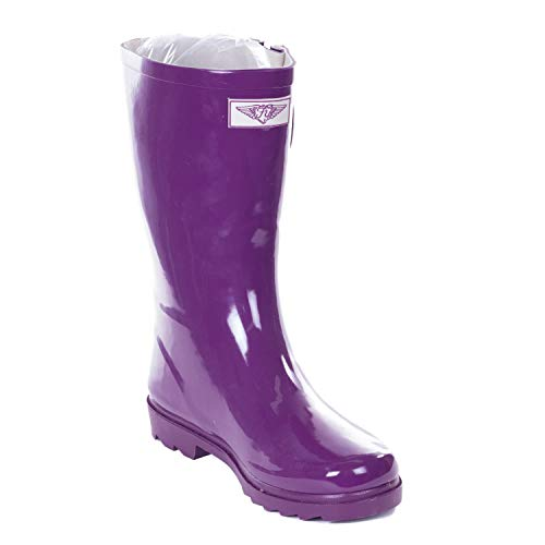Forever Young Women's Purple Rubber 11-inch Mid-Calf Rain Boots 9