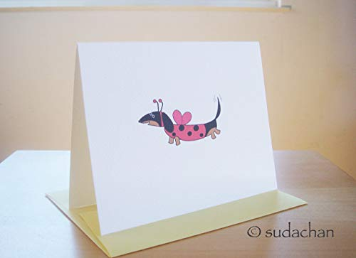 Dachshund Dressed as Ladybug Cards - Black/Tan Dachshund by Sudachan (set of 10)