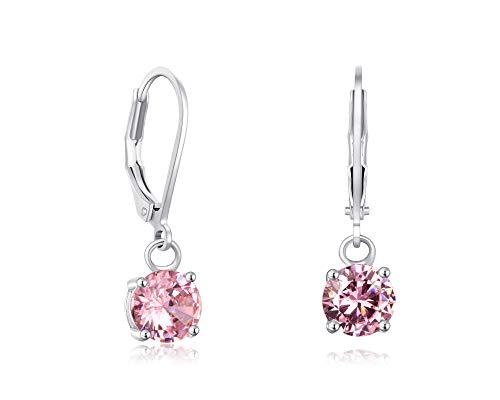 (Buyless Fashion Girls And Women Dangle Earrings Silver CZ Fashion Jewelry - EDGRNDPNK)
