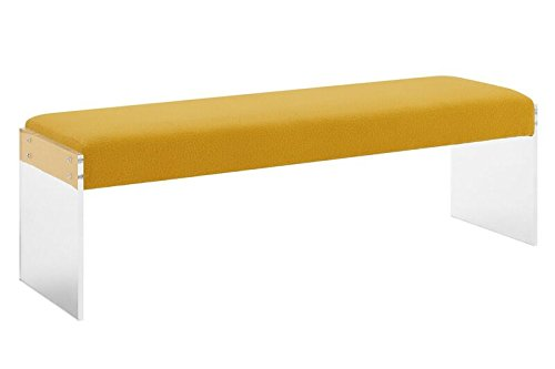 TOV Furniture The Sunshine Collection Modern Style Pebbled Texture Velvet Upholstered Bench with Acrylic Legs, Yellow by Tov Furniture