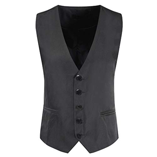 One Nice Men's Business Suit Vest Slim Fit Twill Dress Waistcoat for Wedding Party Dinner Gray