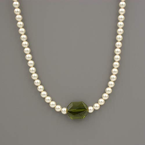 Swarovski Cream Pearl Necklace - Sterling Silver, Swarovski Olivine Green Graphic Crystal Focal, 16-in