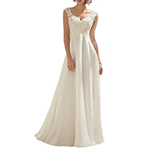 Abaowedding Women's Wedding Dress Lace Double V-Neck Sleeveless Evening Dress