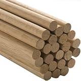 50 Pcs, 1-1/4'' X 36'' Oak Wood Dowels Mix Of Red And White Oak Dowel Color May Vary