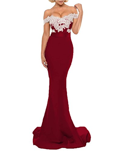 Shoulder Gown Long Women's Mermaid Burgundy Dresses Bridesmaid Formal Dressesonline Off Evening aqpnfxO