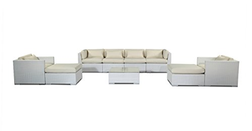 oha Kauai 9 Piece White Wicker Set Outdoor Patio Furniture Sectional Sofa, Ivory (Ivory Wicker Ottoman)