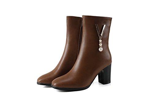 Brown nbsp;Lining Heels SXC02606 Chunky 5 5 Womens Leather nbsp; Round AdeeSu Toe Boots UK Velvet xI8Zw1B1nq