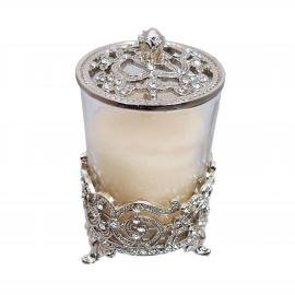 "4"" X 2.25"" Vanity Set Candle Holder Silver w/ Crystals"