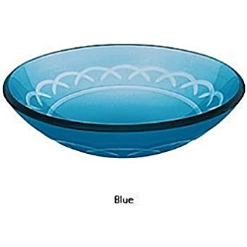 Decolav Blue Etched Art Glass Vessel Sink Bowl