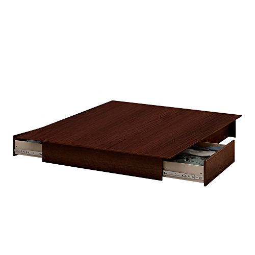 South Shore Step One Full/Queen Platform Bed (54/60'') with drawers, Sumptuous Cherry
