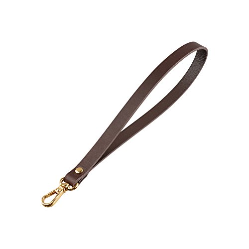 Genuine Leather Wrist Hand Strap Swivel Trigger Clip Snap Lobster Claw Clasp Handmade Key Ring Fob Lanyard (Dark Brown-Gold)