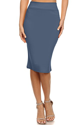 Simlu Women's Below The Knee Pencil Skirt For Office Wear - Made In USA Denim Blue - Jersey Length