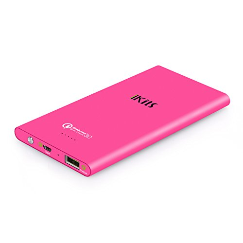 iKits Fast Charge 3.0 Ultra Slim Power Bank 5000mAh External Extended Battery Pack Input: 3.0, Output:2.0+Smart for iPhone/iPad, Samsung Galaxy Google Nexus & more Fuchsia+Cable