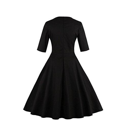 Babyonlinedress Vestido estilo retro y trapecio cuello redondo bordado con lentejuelas negro-blanco