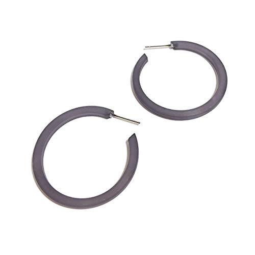 - Silver Grey Frosted Lucite Thread Thin Hoop Earrings