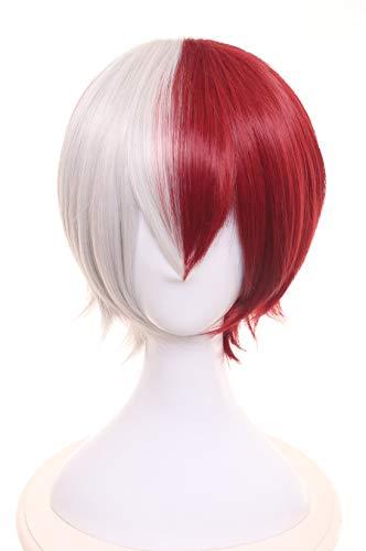Topcosplay Unisex Anime Cosplay Wig Halloween Costume Wigs Short Todoroki Cosplay Wig Grey Red ()