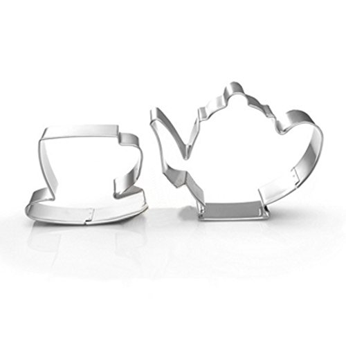 (zjwei Teapot Cup Cookie Cutter for Celebrations Christmas Birthday Party Wedding Holiday)