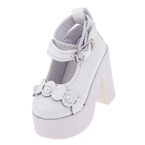 Prettyia 1/3 BJD High Heels Shoes SD Dollfie Lolita Shoes Ankle Strape Shoes White