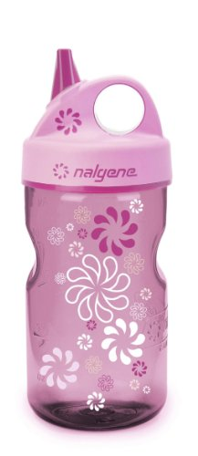 Nalgene Grip-N-Gulp Water Bottle (Pink Wheels, (12 Ounce Bottle Water)