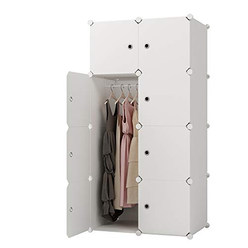 KOUSI Portable Clothes Closet Clothing Storage Plastic Dresser Shelves Armoire Wardrobe Moving Boxes Rack Bins Shelf Closet for Bedroom Organizers and Storage, White, 5 Cubes 1 Hanging Section