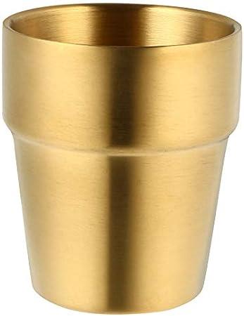 HEMOTON Vasos de Acero Inoxidable a Prueba de Roturas Vasos Dorados Vasos de Cerveza de Doble Pared Whisky Vasos de Metal para Niños Y Adultos