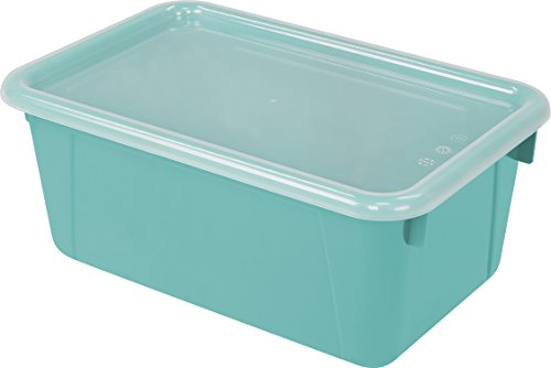 "Storex Small Cubby Bin with Cover, 12.2 x 7.8 x 5.1"", Classroom Teal, Case of 6 (62412U06C)"