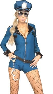 Sexy-Womens-Naughty-Police-Officer-Zipper-Front-Blue-Romper-Bad-Cop-Costume