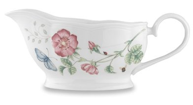 Gravy Blossom Boat (Lenox Butterfly Meadow Bone Porcelain Gravy Boat with Stand)