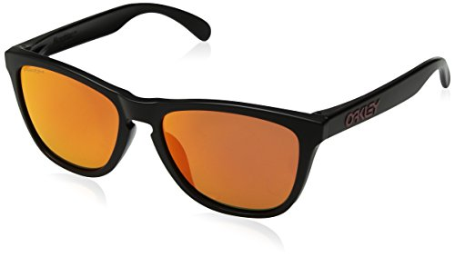 Oakley Men's OO9245 Frogskins Asian Fit Rectangular Sunglasses, Matte Black/Prizm Ruby, 54 mm (Frogskins Matte Black)