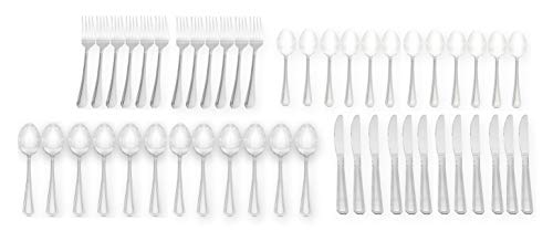 Handi-Ware Every Day Basic+ Mirror Polish Stainless Steel Cutlery Flatware Bulk Pack (96 Pack)