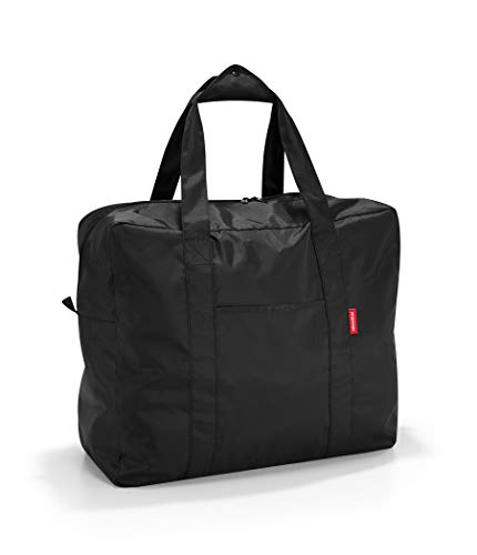 (reisenthel Mini Maxi Touringbag, Packable Carryall for Travel and Everyday with Zippered Closure and Storage Pouch, Fastens to Roller Bags, Water-repellent, Black)