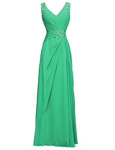 Dresses Bridesmaid Beads Evening Cdress Gowns Chiffon Formal Wedding Green V Neck Prom Long xwqIRT