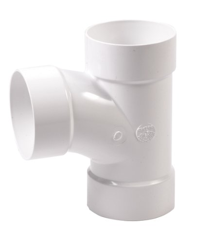 NDS 4P09 3-Way PVC Sanitary Tee Hub Solvent Weld Fitting, 4-Inch, White