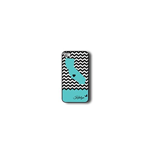 Krezy Case Monogram iphone 4 Case, Colorful chevron with california map Pattern Monogram iphone 4 Case, Monogram...