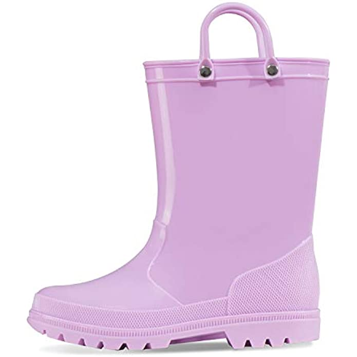 K KomForme Kids Rain Boots, Toddler Girls & Boys Rain Boots Waterproof Memory Foam Insole and Easy-on Handles