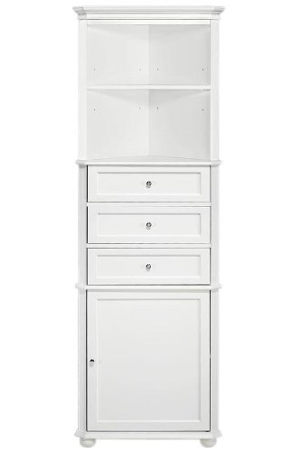 hampton bay corner linen bath cabinet i 3 drawer white amazon com  hampton bay corner linen bath cabinet i 3 drawer      rh   amazon com